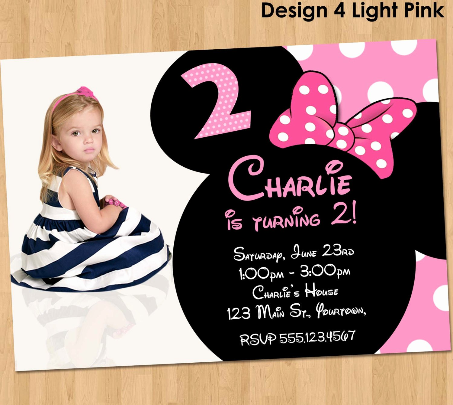 Custom Minnie Mouse Birthday Invitations Elegant Minnie Mouse Birthday Invitation Party Printable Custom