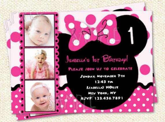 Custom Minnie Mouse Birthday Invitations Elegant Minnie Mouse Inspired Custom Birthday Party Invitations