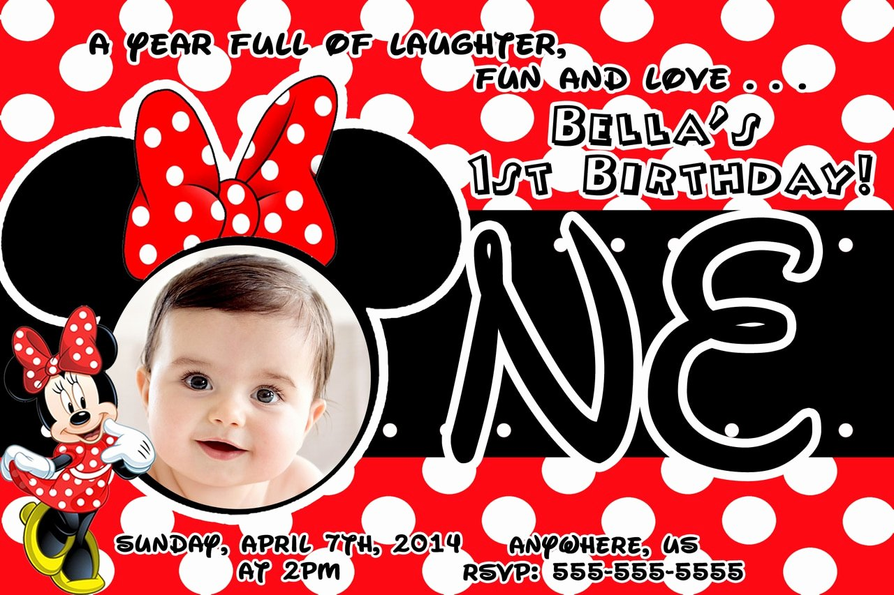 Custom Minnie Mouse Birthday Invitations Elegant Red Minnie Mouse 1st Birthday Invitations Partyexpressinvitations