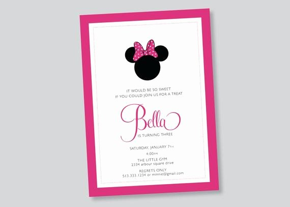 Custom Minnie Mouse Birthday Invitations Inspirational Minnie Mouse Birthday Party Invitation Custom by Scallopedacorn