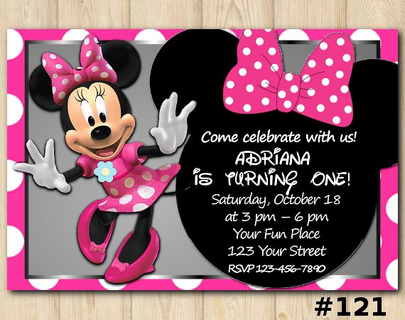 Custom Minnie Mouse Birthday Invitations Lovely Minnie Mouse Birthday Invitation Minnie Mouse Invitation Template Birthday Custom Invitation