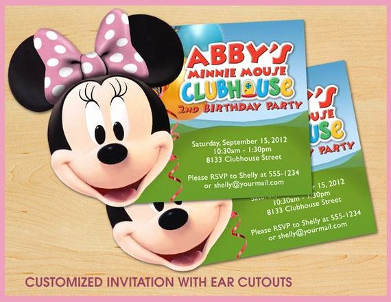 Custom Minnie Mouse Birthday Invitations New Minnie Mouse Clubhouse Birthday Invitations Custom