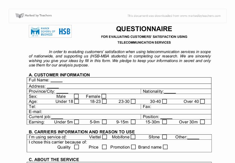 Customer Satisfaction Questionnaire Pdf Awesome Questionnaire for Evaluating Customer S Satisfaction International Baccalaureate Business