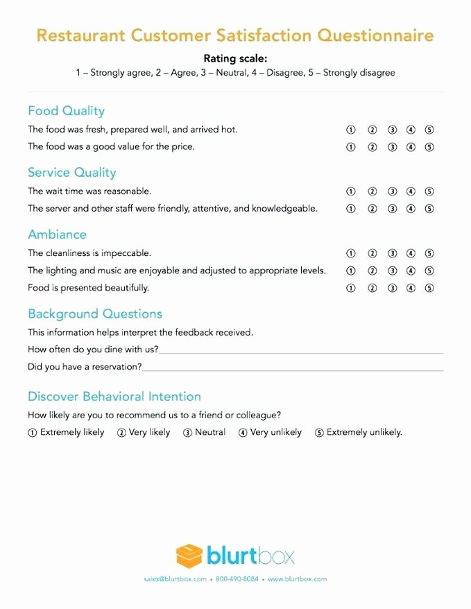 Customer Satisfaction Questionnaire Pdf Beautiful Restaurant Customer Satisfaction Survey Pdf 5