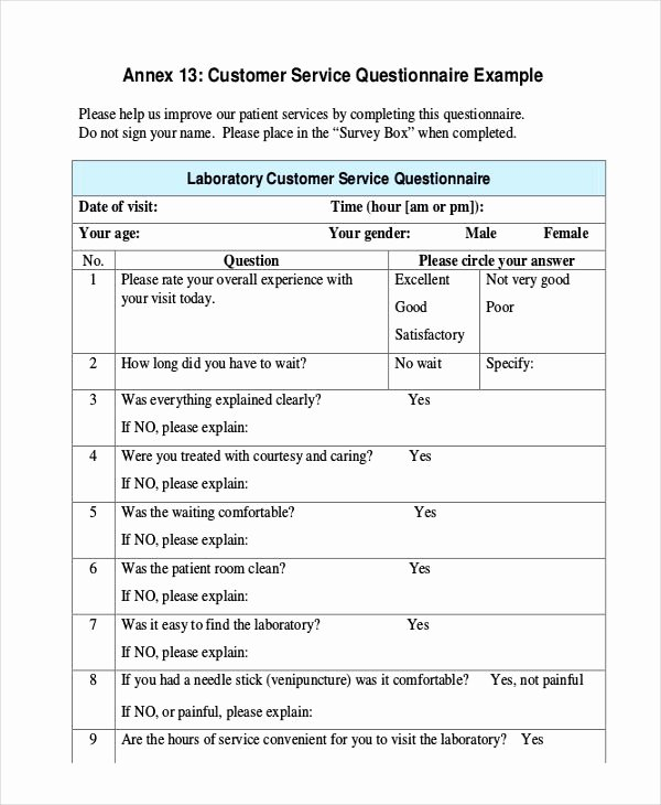 Customer Satisfaction Questionnaire Pdf Best Of Free 7 Customer Service Questionnaire Examples & Samples In Pdf