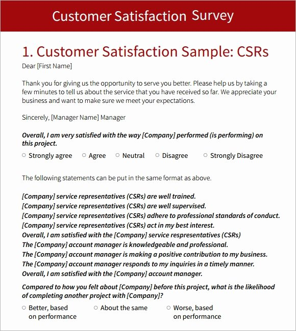Customer Satisfaction Questionnaire Pdf Luxury Customer Survey Template 9 Download Free Documents In Pdf Word