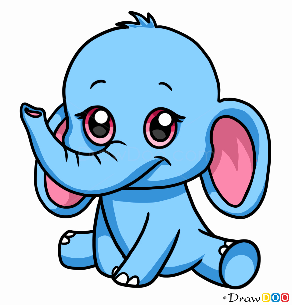 Cute Pictures to Draw Beautiful Cute Elephant Drawing How to Draw Cute Anime Animals