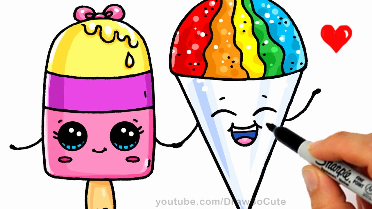 Cute Pictures to Draw Lovely Summer Treats How to Draw A Popsicle and Snow Cone Easy