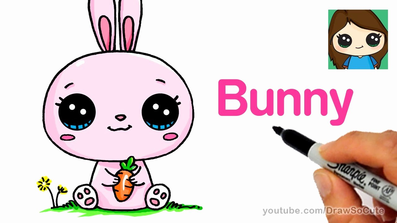 Cute Pictures to Draw Unique How to Draw A Cartoon Bunny Rabbit Easy