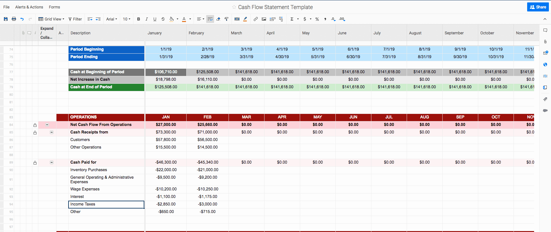 Daily Cash Flow Template Excel Lovely Free Cash Flow Statement Templates