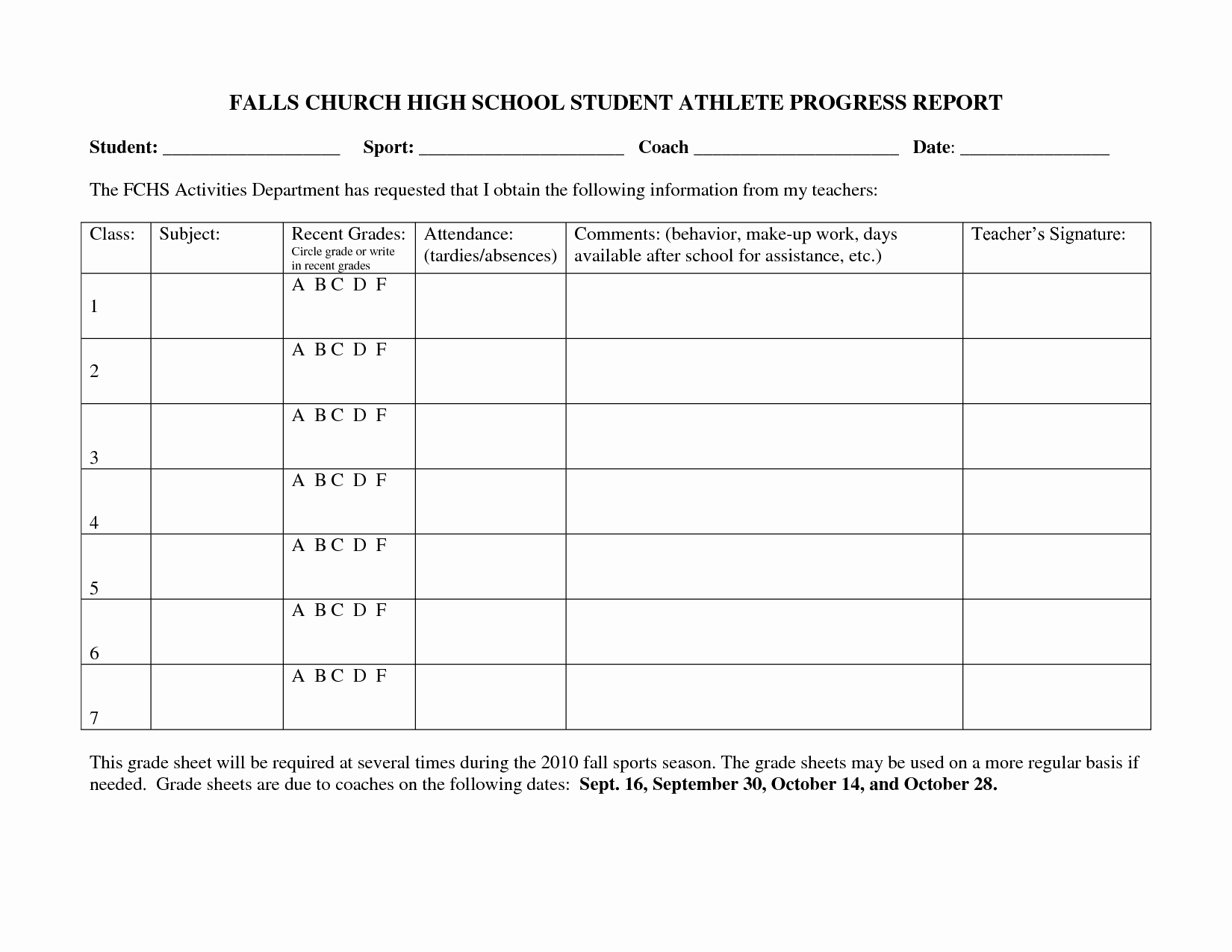 Daily Progress Report Template Awesome 25 Of High School Grade Report Template
