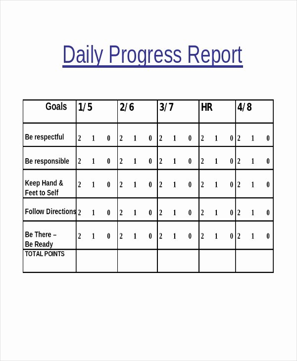Daily Progress Report Template Awesome Progress Report Template 55 Free Pdf Ms Word Google Docs Apple Pages Download