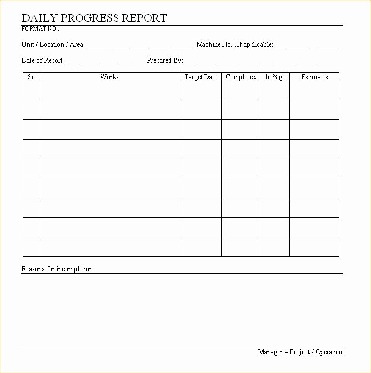 Daily Progress Report Template Lovely Daily Progress Report Template