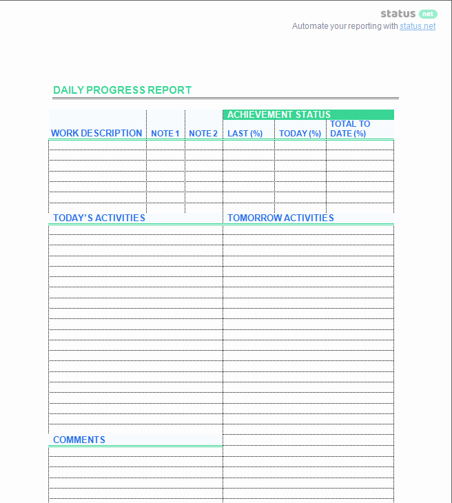 Daily Progress Report Template Luxury 2 Smart Daily Progress Report Templates