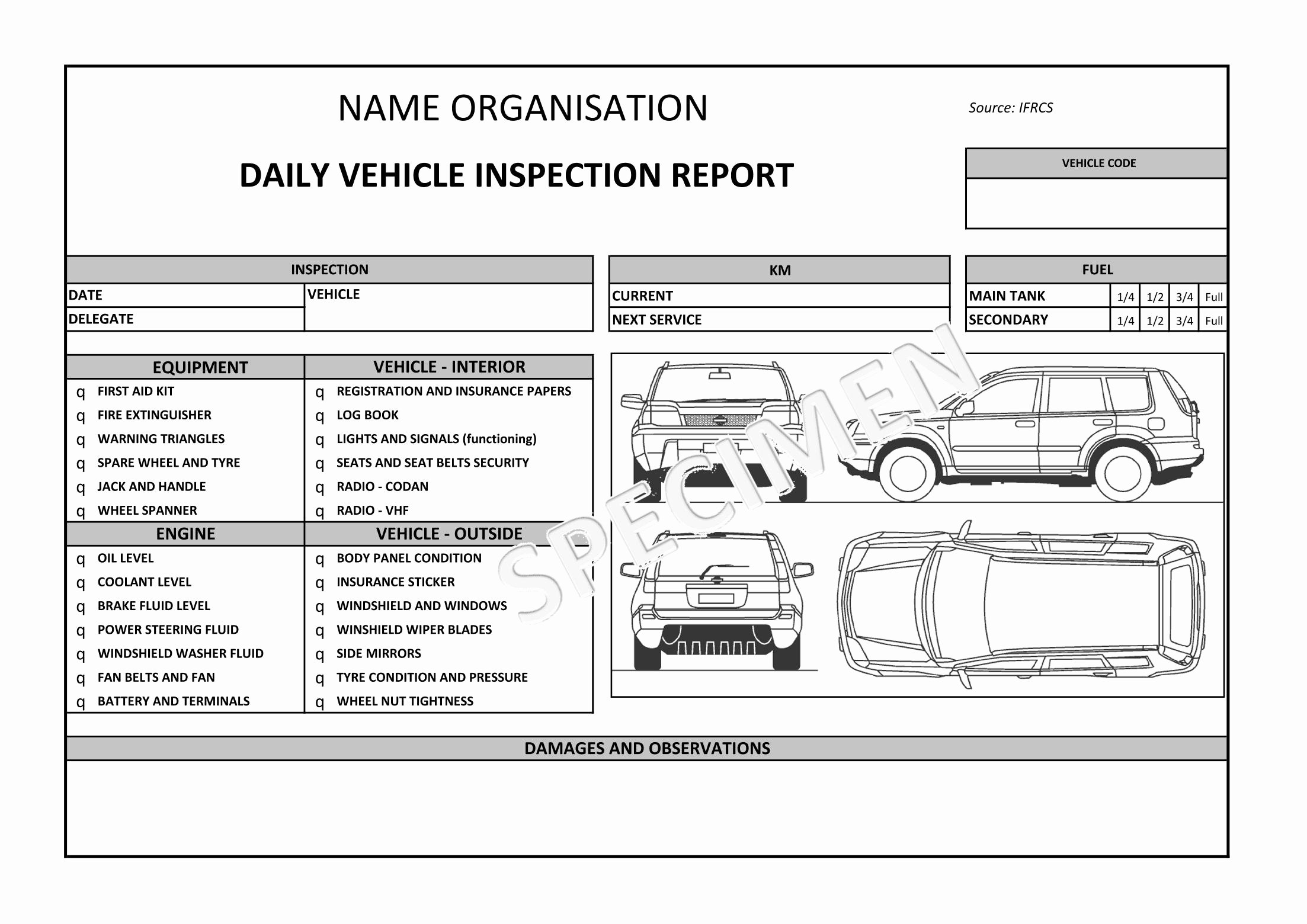 Daily Truck Inspection Checklist Lovely Auto Condition Report Templates Windowswinner