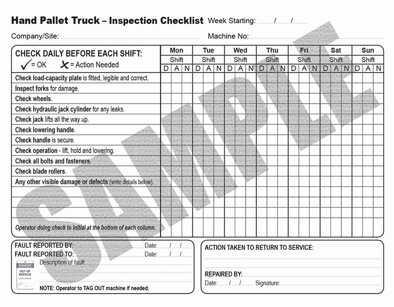Daily Truck Inspection Checklist Unique Daily Inspection Checklist for Hand Pallet Trucks