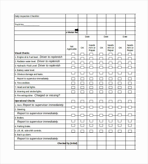 Daily Vehicle Inspection Checklist Template Fresh Daily Checklist Template 29 Free Word Excel Pdf