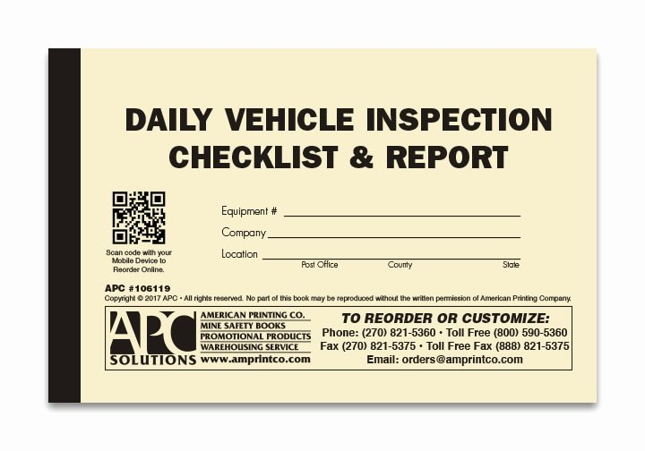 Daily Vehicle Inspection form Fresh Daily Vehicle Checklist