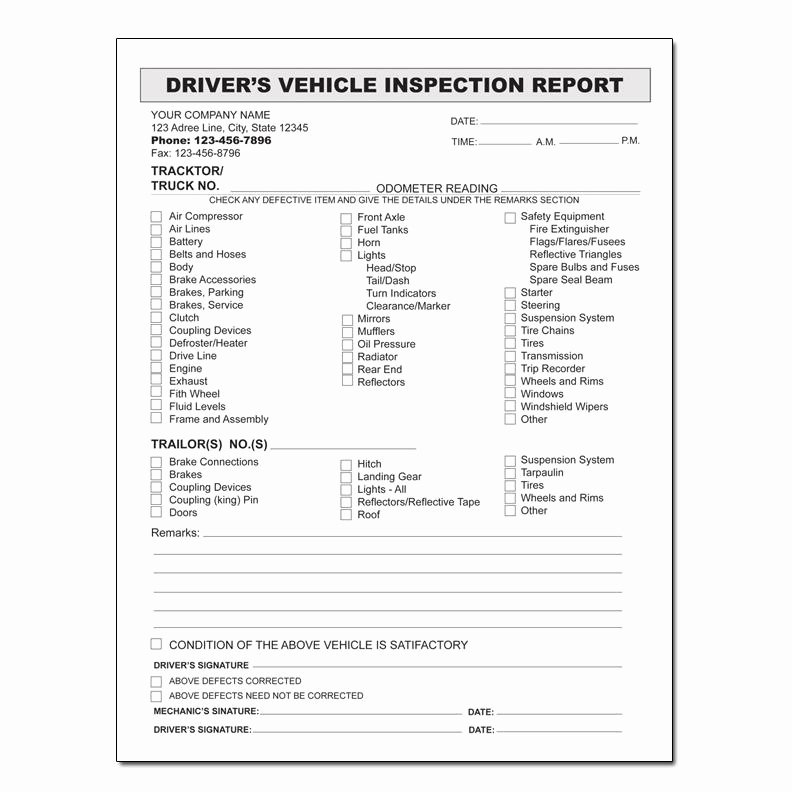 Daily Vehicle Inspection form Template Lovely Designsnprint