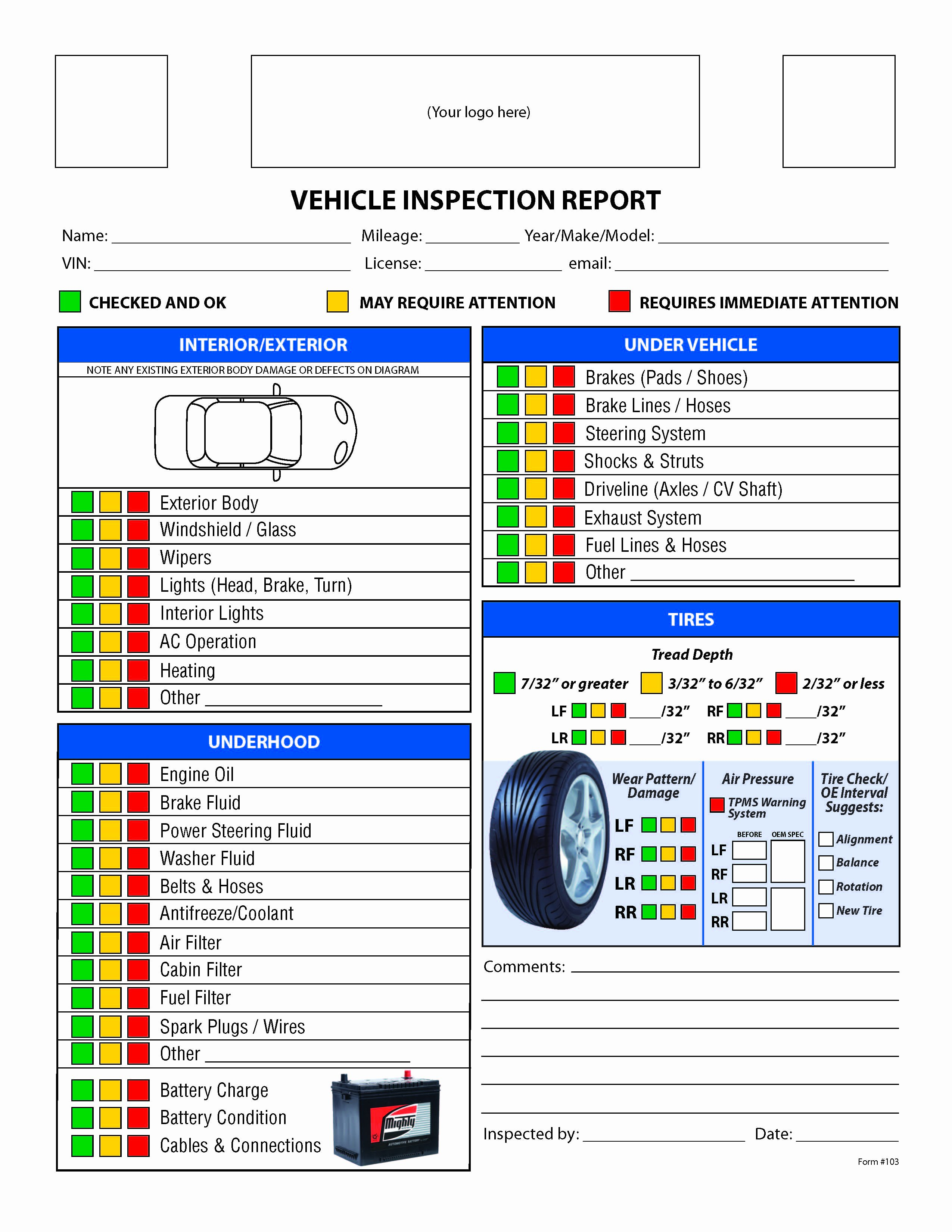 Daily Vehicle Inspection form Template Lovely Free Vehicle Inspection Checklist form Good to Know