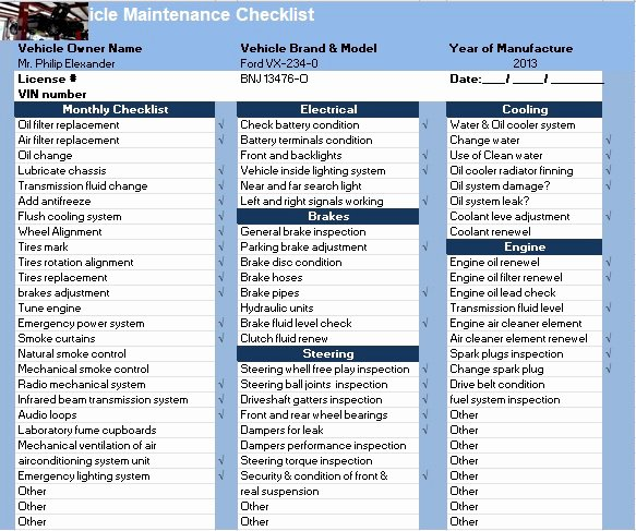 Daily Vehicle Maintenance Checklist Inspirational Vehicle Maintenance Checklist Template Excel Tmp