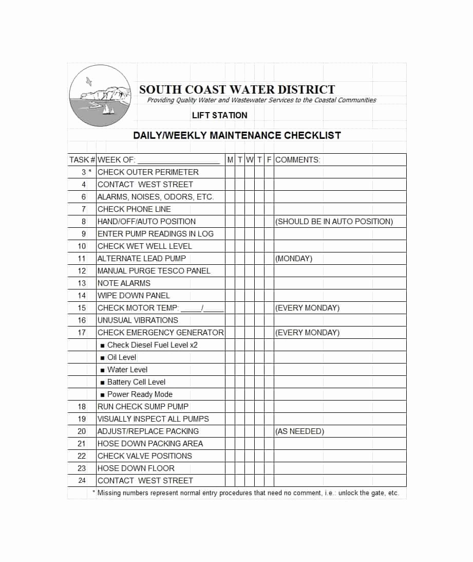 Daily Vehicle Maintenance Checklist Lovely 40 Printable Vehicle Maintenance Log Templates Template Lab