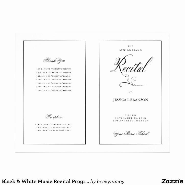 Dance Lesson Plan Template Elegant Black & White Music Recital Program Template Zazzle School Days