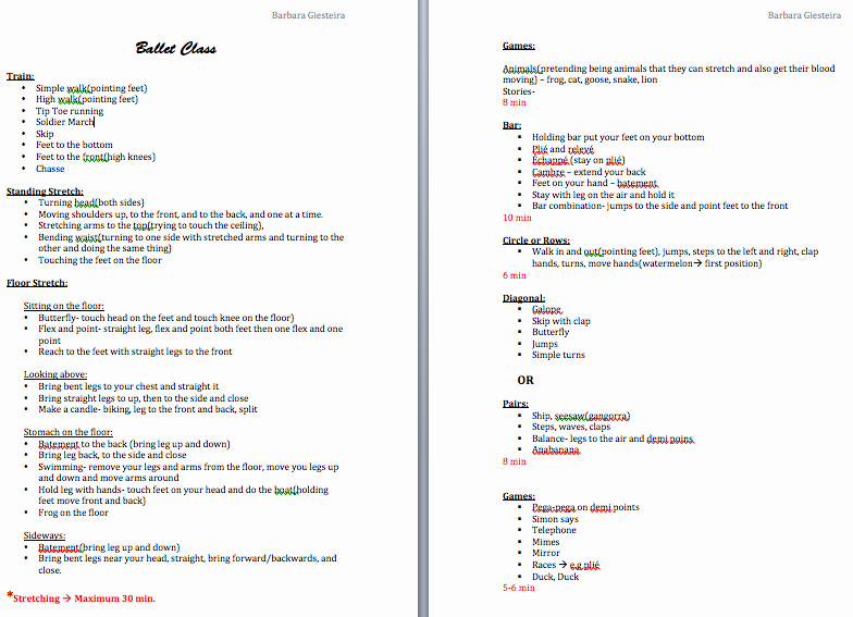 Dance Lesson Plan Templates Fresh Ballet Class Lesson Plan Google Search Curriculum