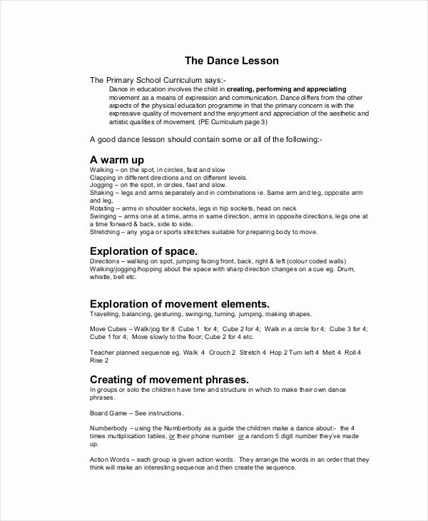 Dance Lesson Plan Templates Inspirational 59 Lesson Plan Templates Pdf Doc Excel