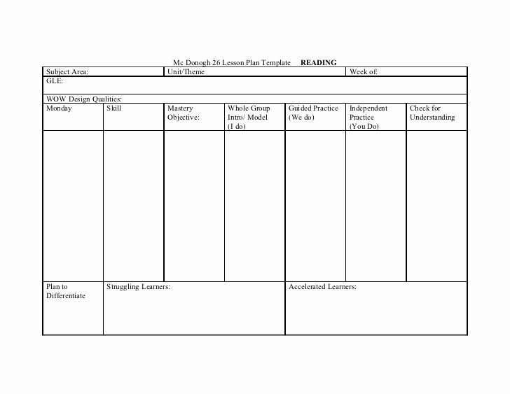 Dance Lesson Plan Templates Inspirational Mc Donogh 26 Lesson Plan Template Reading