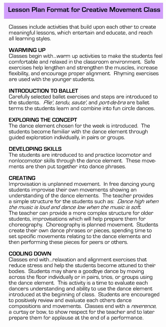 Dance Lesson Plan Templates Lovely Dance Lesson Plan format Flowersheet
