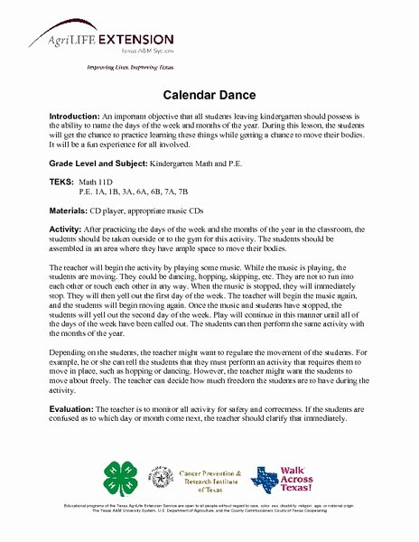 Dance Lesson Plan Templates Luxury Calendar Dance Lesson Plan for Kindergarten