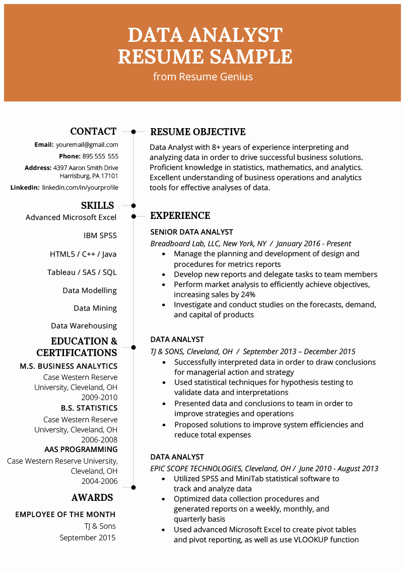 Data Analyst Resume Entry Level Awesome Data Analyst Resume Example & Writing Guide