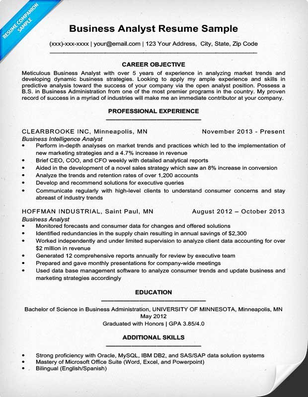 Data Analyst Resume Entry Level Best Of Business Analyst Resume Sample & Writing Tips