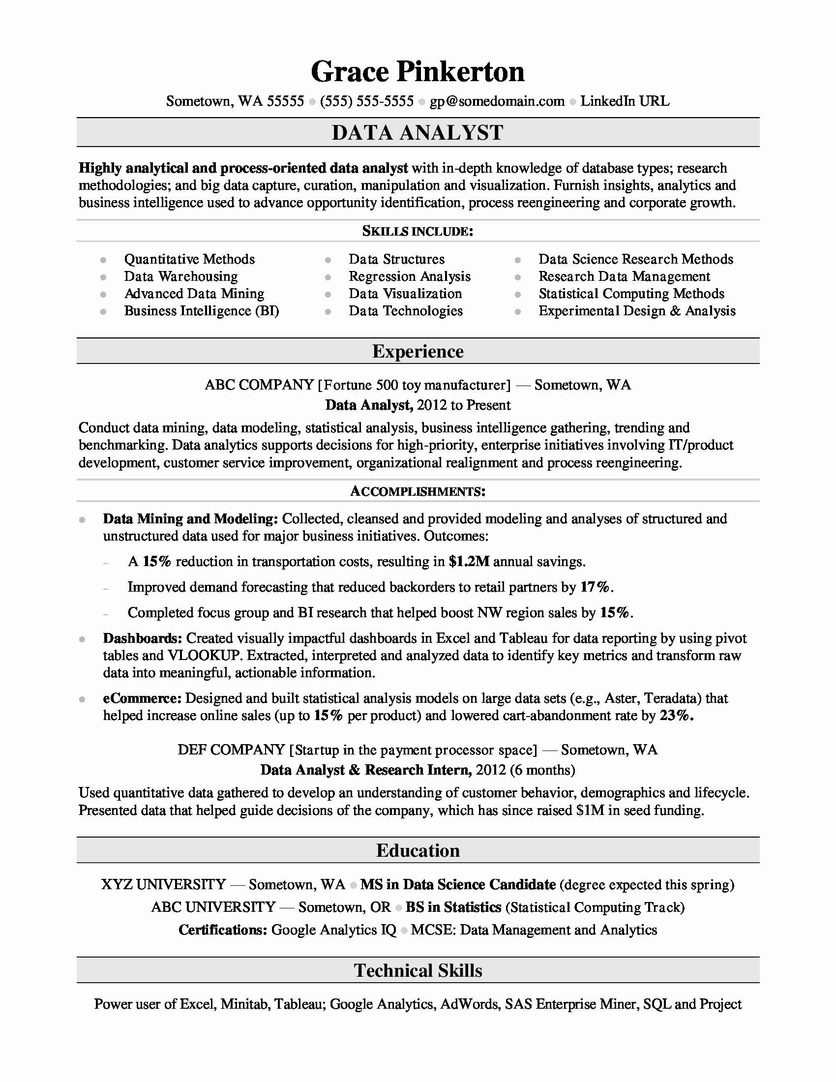 Data Analyst Resume Entry Level Best Of Data Analyst Resume Sample