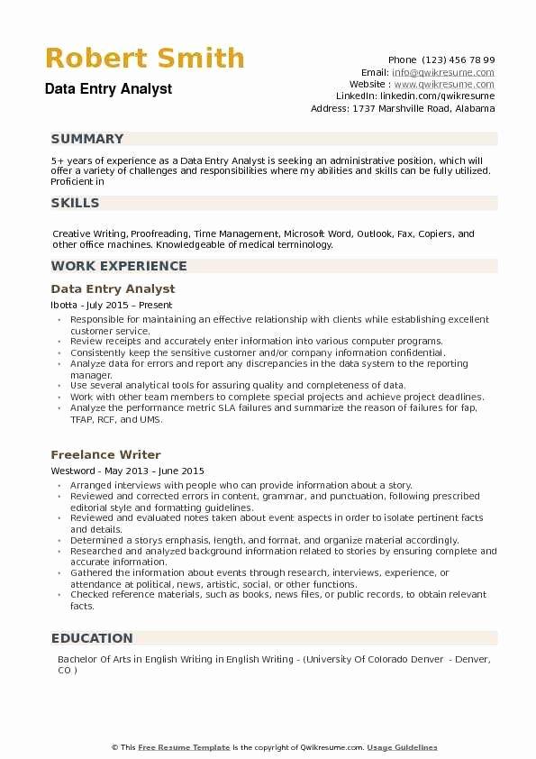 Data Analyst Resume Entry Level Inspirational Data Entry Analyst Resume Samples