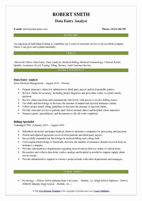 Data Analyst Resume Entry Level Lovely Data Entry Analyst Resume Samples