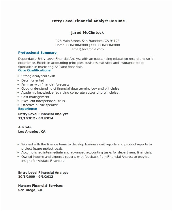 Data Analyst Resume Entry Level Lovely Financial Analyst Resume 12 Pdf Word Documents Download
