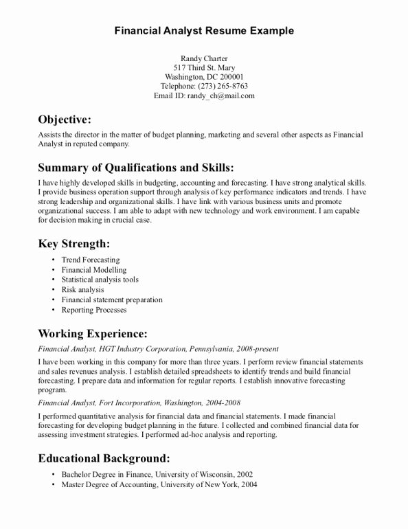 Data Analyst Resume Entry Level Lovely Resume for Entry Level Financial Analyst