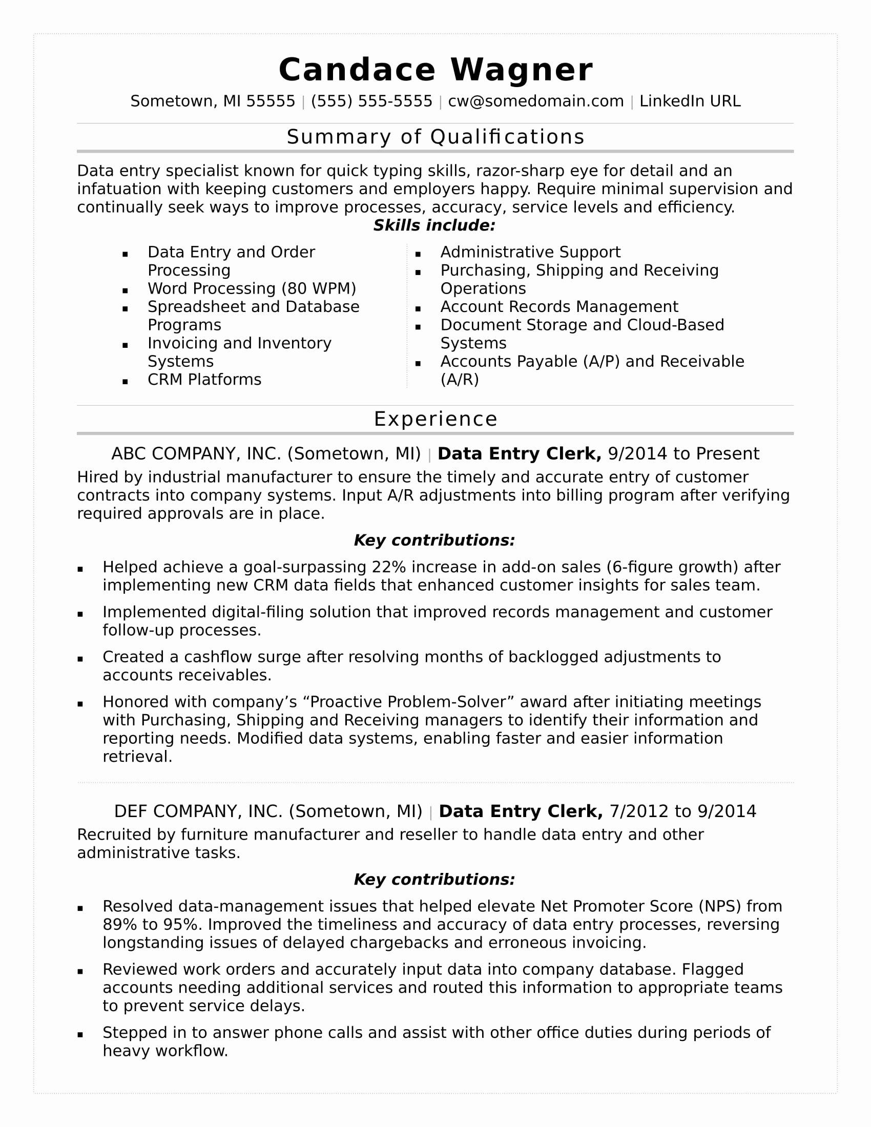 Data Analyst Resume Entry Level Luxury Data Entry Resume Sample