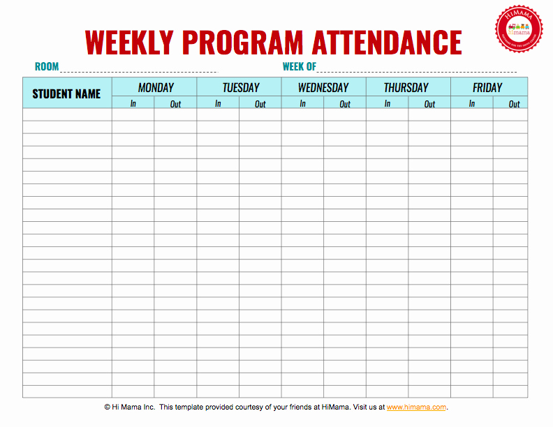 Daycare Staff Schedule Template Awesome Daycare Sign In Sheet Template Weekly M F Daycare Sign In Sheet Templates