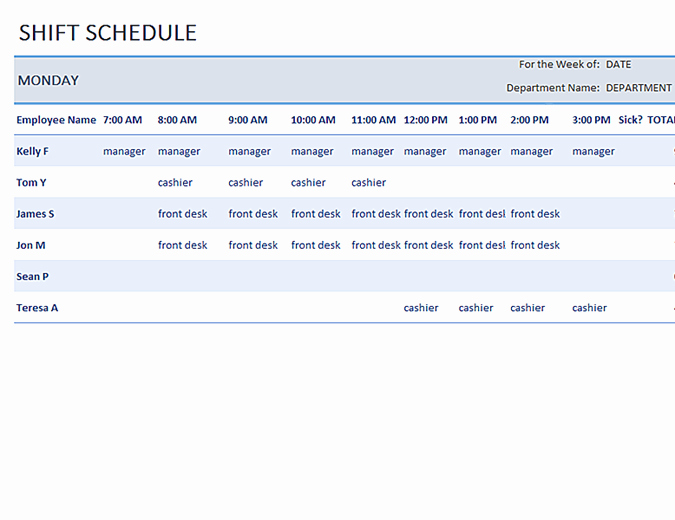Daycare Staff Schedule Template Awesome Employee Shift Schedule Template – Printable Schedule Template