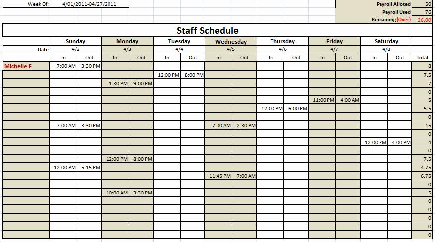 Daycare Staff Schedule Template Fresh Staff Schedule Template Monthly – Printable Schedule Template