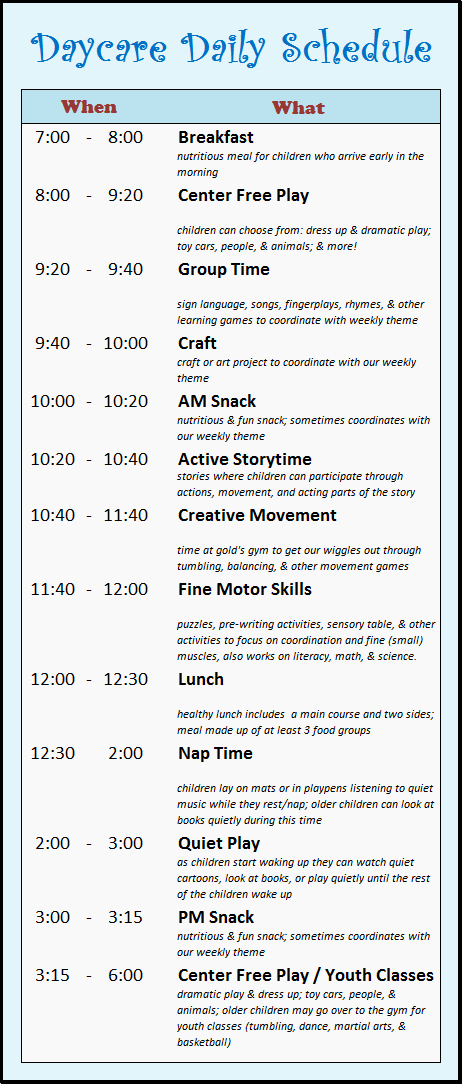 Daycare Staff Schedule Template Lovely Daycare Schedule On Pinterest