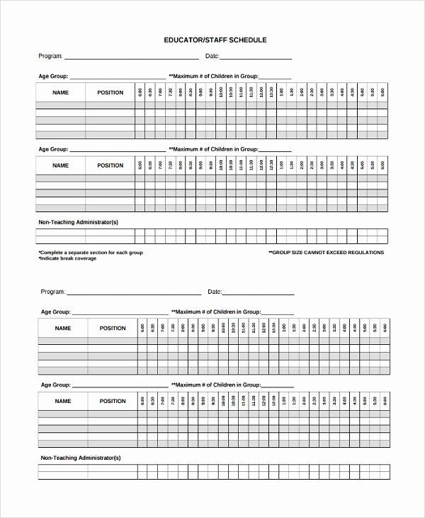Daycare Staff Schedule Template Unique Sample Staff Schedule Template 9 Free Documents Download In Pdf Word
