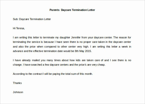 Daycare Termination Letter to Parent Awesome 13 Daycare Termination Letter Free Word Pdf Documents Download