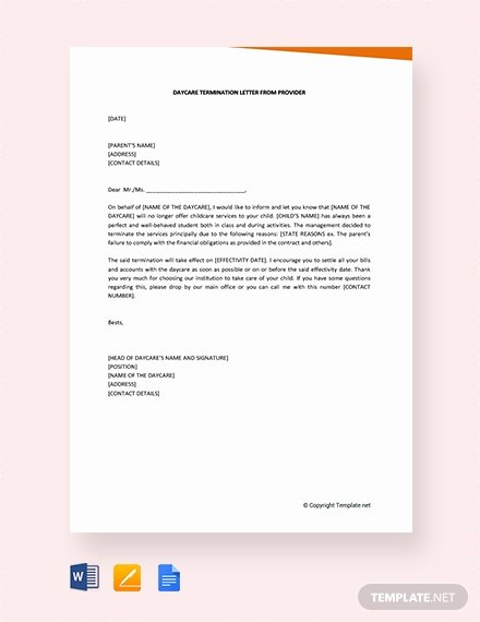 Daycare Termination Letter to Parent Inspirational 1636 Free Word Letter Templates Download Ready Made