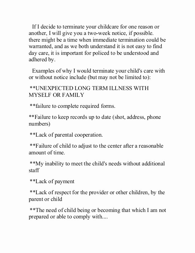 Daycare Termination Letter to Parent Lovely Parent Handbook 2