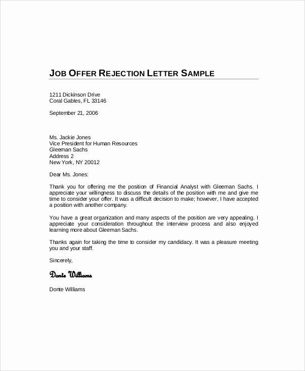 Decline to Bid Letter Elegant Sample Decline Fer Letter 5 Documents In Pdf Word