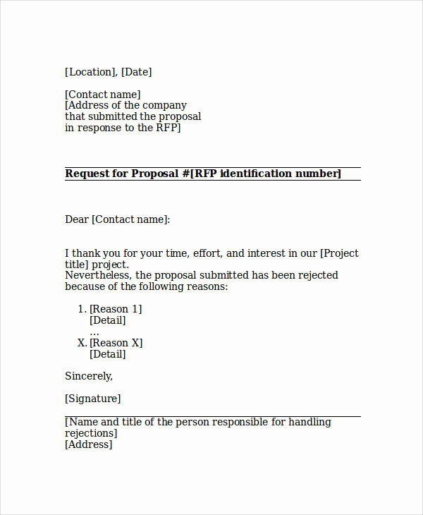 Decline to Bid Letter Elegant Sample Proposal Rejection Letter 6 Examples In Word Pdf